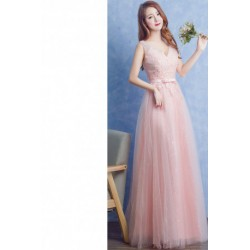 2016 New Summer Pink Deep-V Evening Dress