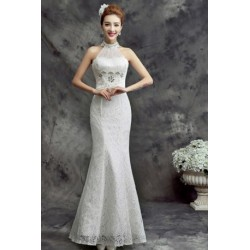 2016 New Spring & Summer White Halter Neck Bride Evening Dress