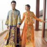 Groom's Chinese Traditional Dragon & Phoenix Wedding Long Cheongsam Suit