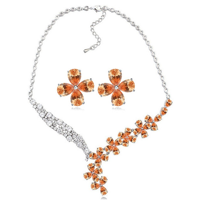 Cubic Zirconia Jewelry Sets : Shimmer floral cubic zirconia jewelry set colors fashion