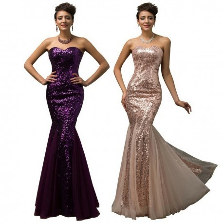 Shimmer Sequined Mermaid Floor Length Evening Gown (2 Colors)