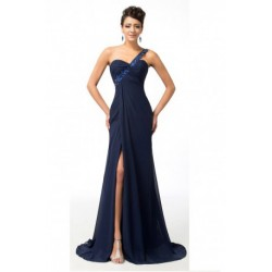 Chiffon One Shoulder Navy Blue Evening Gown