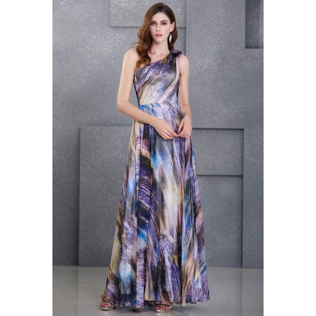 Gradient Chiffon One Shoulder Printed Evening Gown
