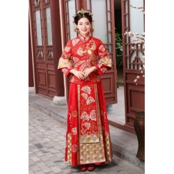 Chinese traditional vintage cheongsam dragon phoenix for Traditional chinese wedding dress hong kong