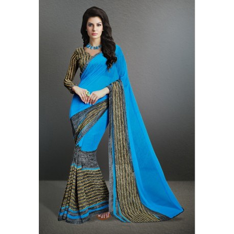 Stunning Sky Blue Color Party Wear Printed Georgette Saree