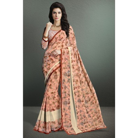 Pastel Light Pink Color Printed Party Wear Georgette Saree
